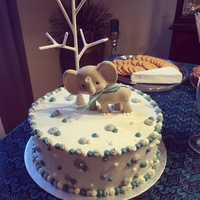 Baby Shower Cake January 2015Vanilla Bean cake with blue spheres, vanilla buttercream