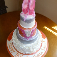 Livy's Icing Smiles Ballet Cake My Icing Smiles cake for a young lady fighting metastatic bone cancer. She requested a ballet theme, orange and white color scheme and...