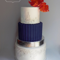 Navy & Orange Wedding Cake a challenging color pallette, but the bride was happy!