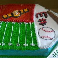 Baseball, Football, Wwe Birthday Cake Made for a 10 year old who can't decide which he likes better: WWE, Football, or Baseball. All buttercream, marble cake filled with...