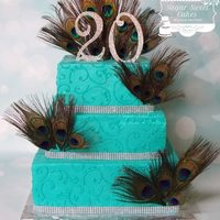 "Peacock 20Th Anniversary 8"", 10"", & 12"" cakes iced in buttercream w/buttercream scrolls. TFL!"