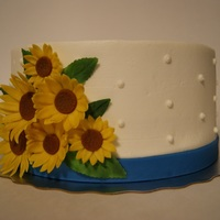 Sunflower Wedding Cake Top For Cupcake Tower This is a dairy free vanilla cake. The bride had the cupcakes and asked me for the topper. It is buttercream finish with gumpaste...