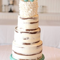 Naked Birch Wedding Cake, 4 Tiers, With Ruffles And Turquoise Accent Client adding cake in natural setting completed in a naked birch buttercream finish topped with a sugar ruffle birds nest tier and two...