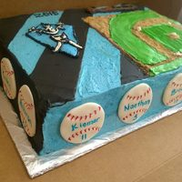 Baseball Team Celebration Cake 9x13, filled with chocolate cream filling