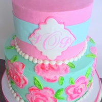 Monogram Bridal Shower Cake Lilly Pulitzer inspired bridal shower cake. Roses are piped buttercream that I brushed with a paintbrush.