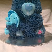 Blue Bear Baby Shower Cake, With Elephant Made using 3D Care Bear pan, buttercream icing (grass tip), with fondant elephant/nose/ears. Blue velvet cake.