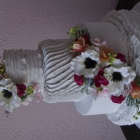 Ruffled And Pleated Four Tier Wedding Cake This is a cake model I made for a bridal open house. Just used silk flowers there is not a huge local market for sugar flowers here. Can&#...
