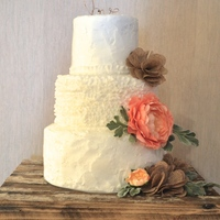 Rustic Buttercream Cake For Barn Venue 3 tier chocolate with salted caramel espresso chocolate filling. 15 little rows of upside down white buttercream ruffles on the center 6&...
