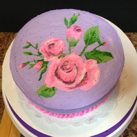 Rose Birthday Cake Tonkabean Vanilla Cake (Hot Pink Interior) with purple frosting & painted roses