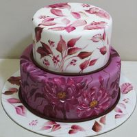 Hand Painted Cake With Flowers   Hand painted cake with flowers