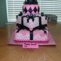 Pink And White Cake With Black Bow Pink and white cake with Black bow
