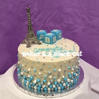 Paris-Themed Baby Shower Cake - It's A Boy! I got the Eiffel Tower topper online, and the baby blocks are fondant (I used @zoesfancycakes' tutorial!), and the blue, silver, &amp...