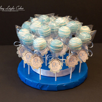 Baby Shower Blue Cake Pops Cake Pops for a baby shower!