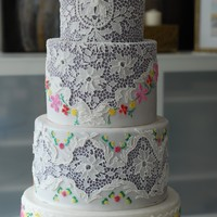 Cake Inspired By A Vintage Lace And Embroidery. Wedding Cake Inspired by a vintage lace and embroidery.
