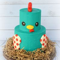 Chicken Cake Ganache covered Chicken Cakey with fondant accents