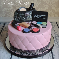 Mac Makeup Cake   gumpaste makeup and bag