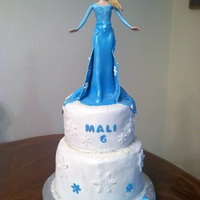 Elsa From Frozen   2 tiered chocolate Elsa cake