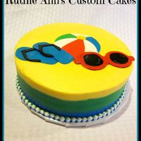 Summer Fun   Tri color bc frosting with fondant accents