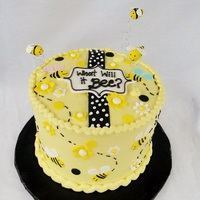 "Bee Gender Reveal Cake What Will It Bee? Gender Reveal cake (8"" x 3 layers) buttercream finish with fondant artwork and ""flying"" bees"