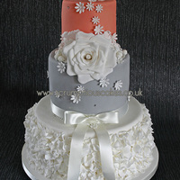 Coral & Grey Ruffle Wedding Cake An unusual colour combination and my first ever time making ruffles - PJ x