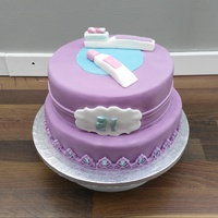 Toothbrush And Paste 21St Cake Made for a dental nurses 21st. Chocolate biscuit with chocolate fudge layer and covered in purple fondant.