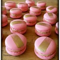 Pink With Golden Stripe Macarons French Macarons Pink with Golden Stripemocca and lemon flavour