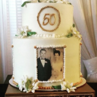 "50Th Anniversary Cake This couple's first date was to see the ""Sound of Music"" when it came out. I thought it would be sweet to add some fondant..."