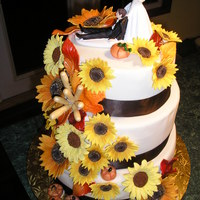 Fall Wedding Cake This 3 tier wedding cake was just delivered Saturday, August 29th, 2015.....The top tier is vanilla cake with a salted caramel filling,...