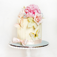 Wedding Cake With Peony, Roses And Butterflies sugar peony and rose and wafer butterfly. cake covered with white chocolate