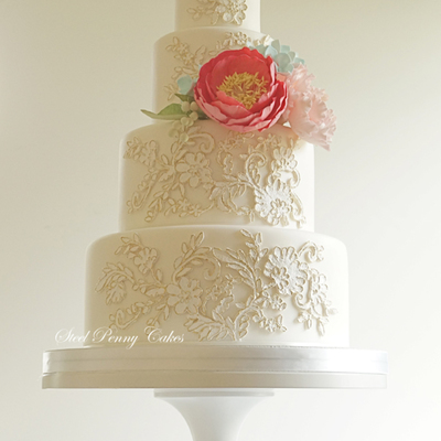 Gold Lace And Pastel Sugar Flowers on Cake Central