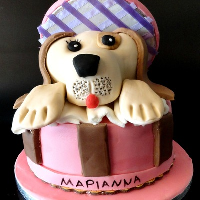 Gift Box Cake With A Puppy Inside