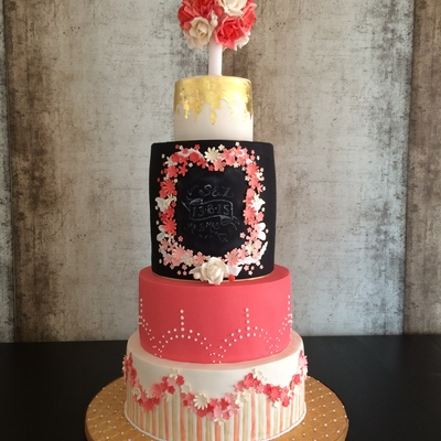 Coral And Black Wedding Cake