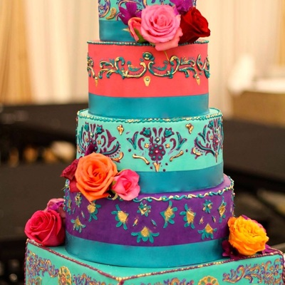 5 Tier Multi Colored India Inspired Wedding Cake