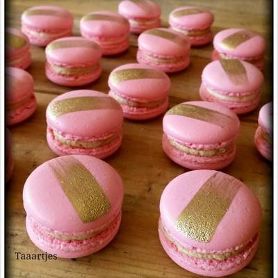 Pink With Golden Stripe Macarons