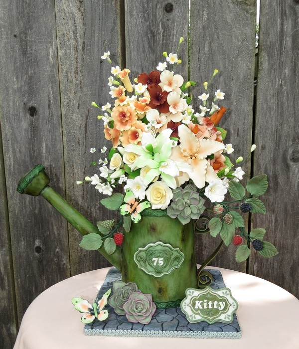 Watering Can With Blackberries, Butterflies, Succulents And Flowers