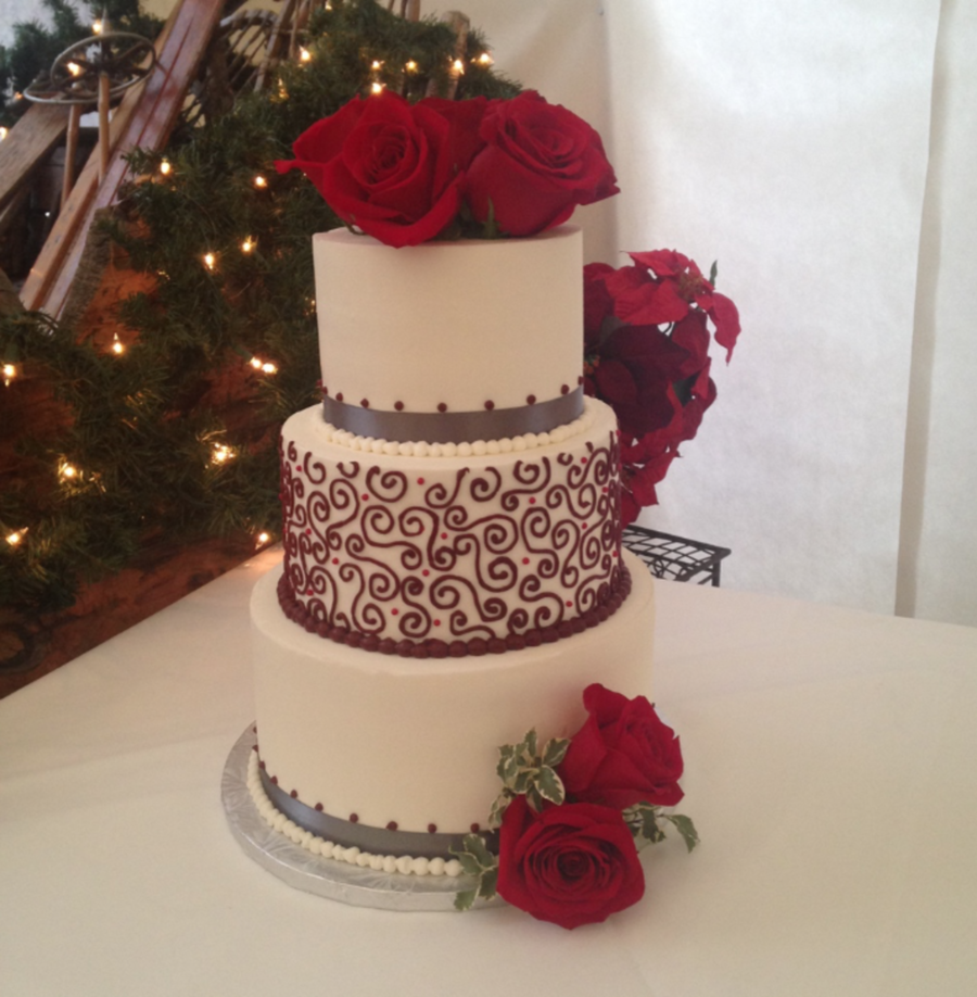 Winter Red And Gray Wedding on Cake Central