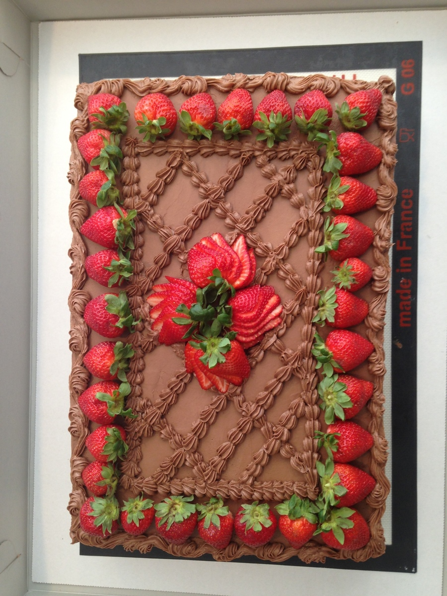 Milk Chocolate Cake With Cream Filling And Strawberries