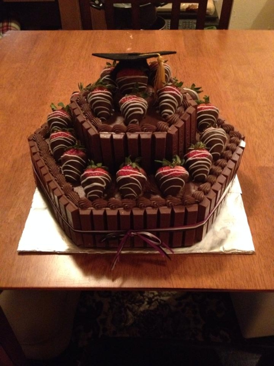 Chocolate Covered Strawberry & Kit Kat Cake - CakeCentral.com