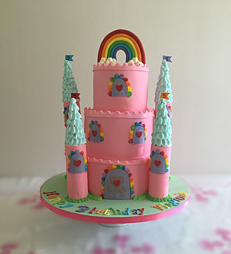 Outstanding Rainbow Castle Birthday Cake Cakecentral Com Funny Birthday Cards Online Alyptdamsfinfo