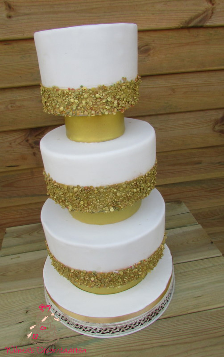 White Wedding Cake With Gold Sequins - CakeCentral.com