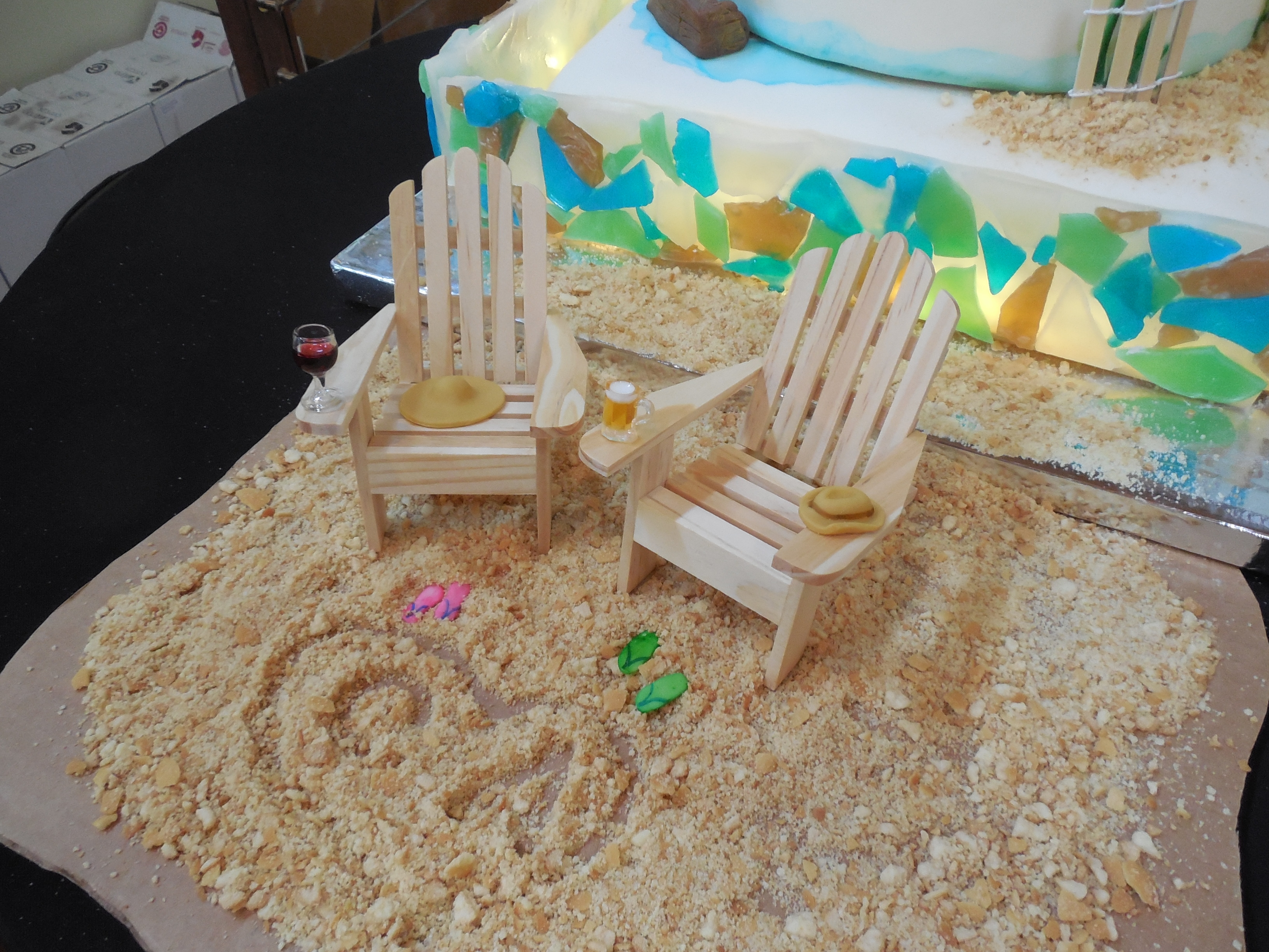lake michigan beach wedding cake