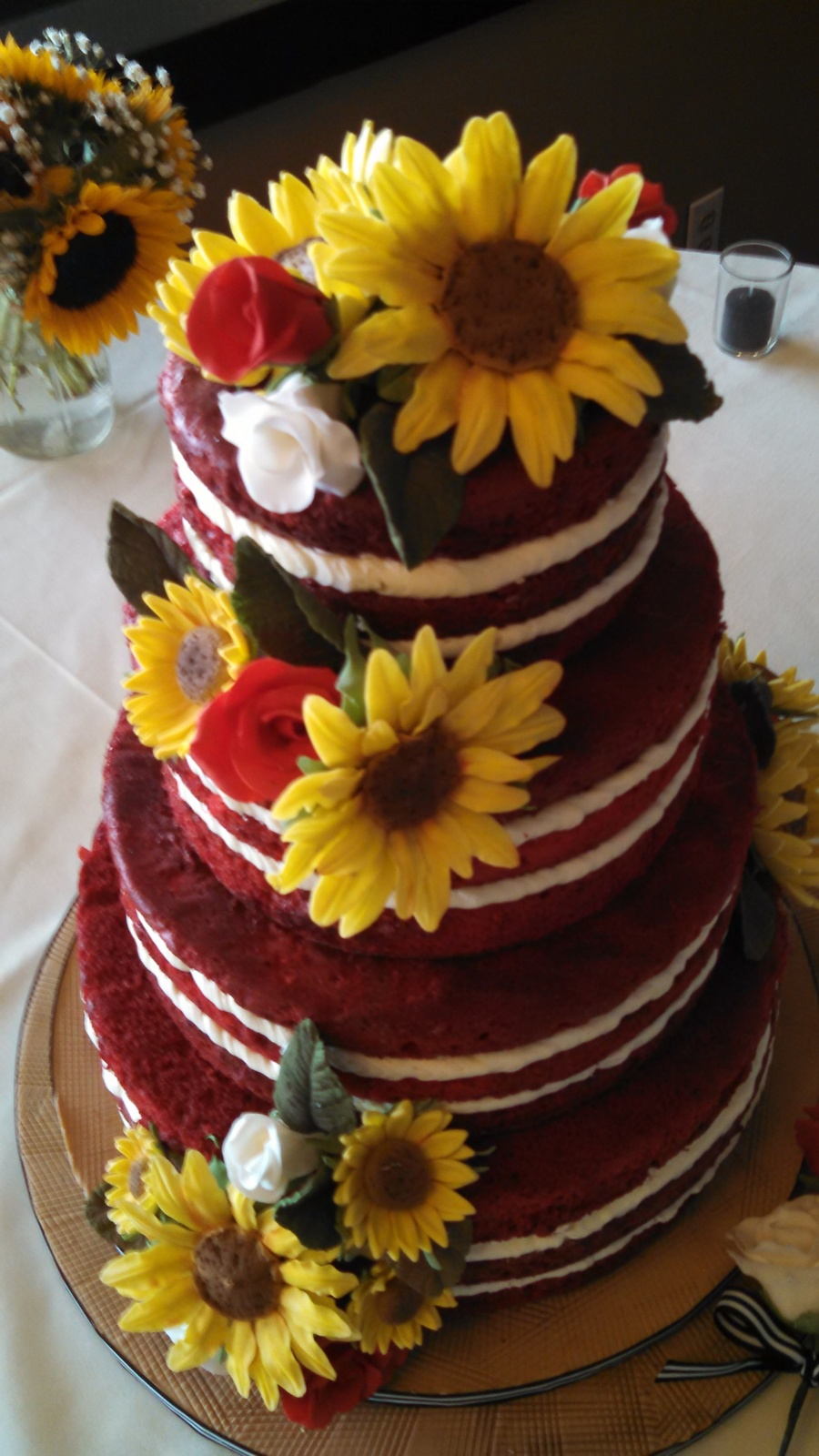 wedding cakes with sunflowers and roses velvet cake cakecentral 26125