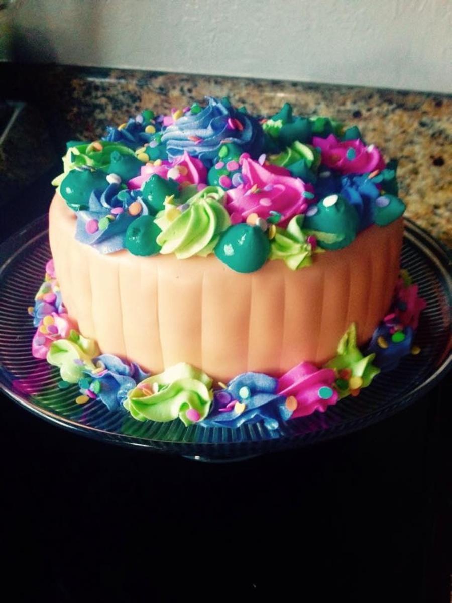 Multi Colored Star Tip Buttercreamfondant Cake CakeCentralcom