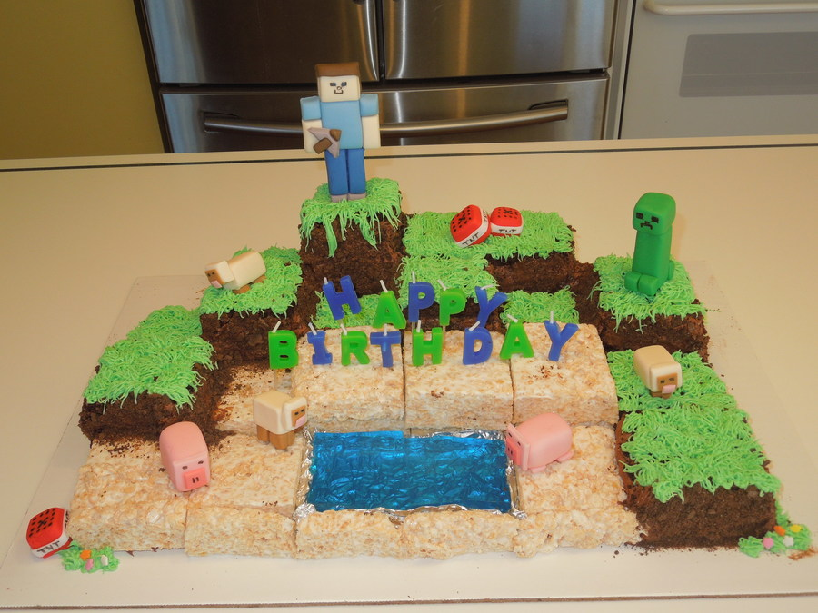 Minecraft Birthday Cake Made With Cubes