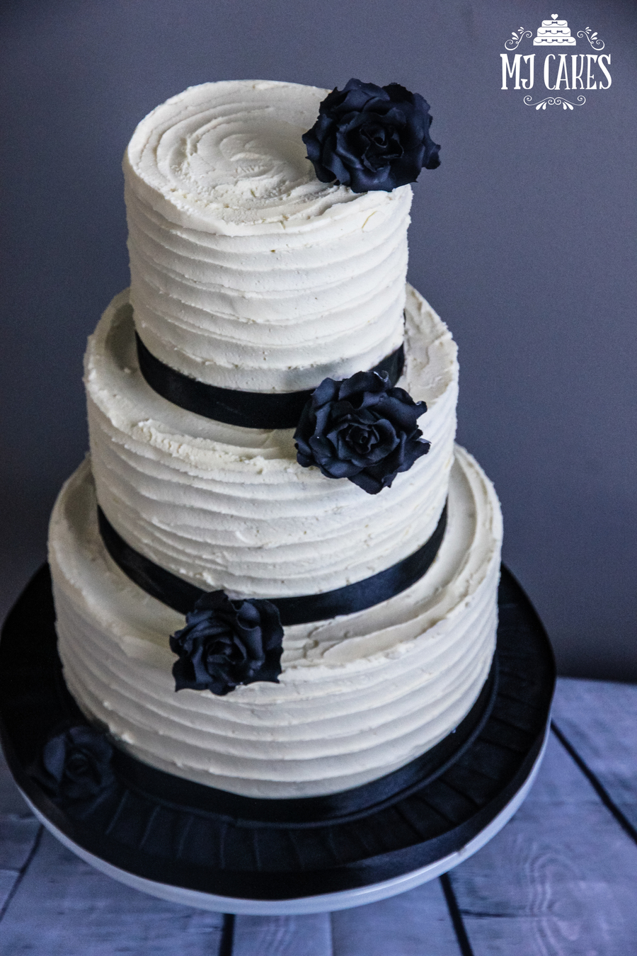 Black And White Buttercream Wedding Cake On Central