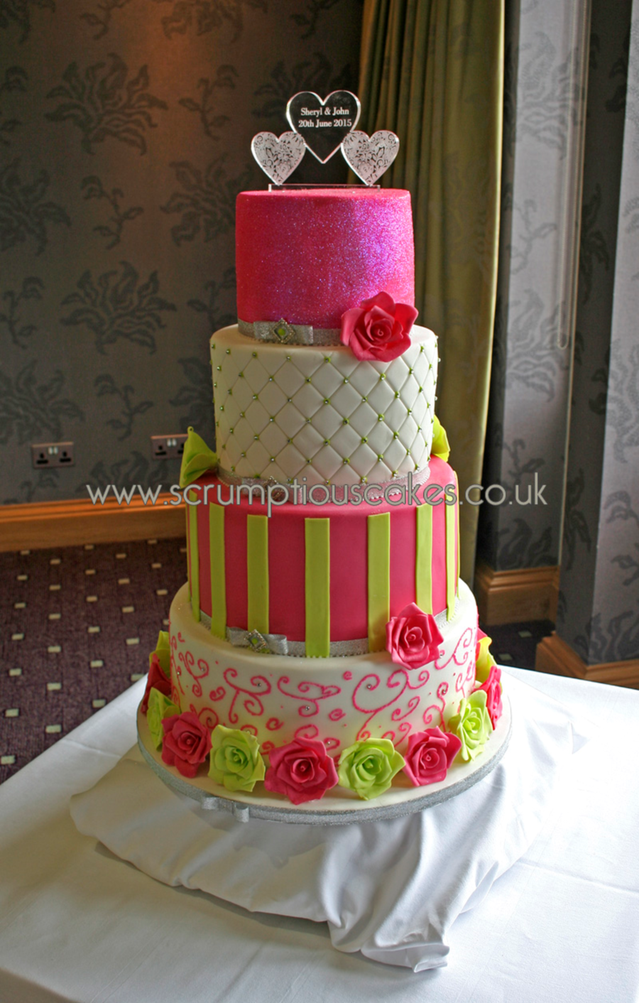 Hot Pink & Lime Green Wedding Cake - CakeCentral.com