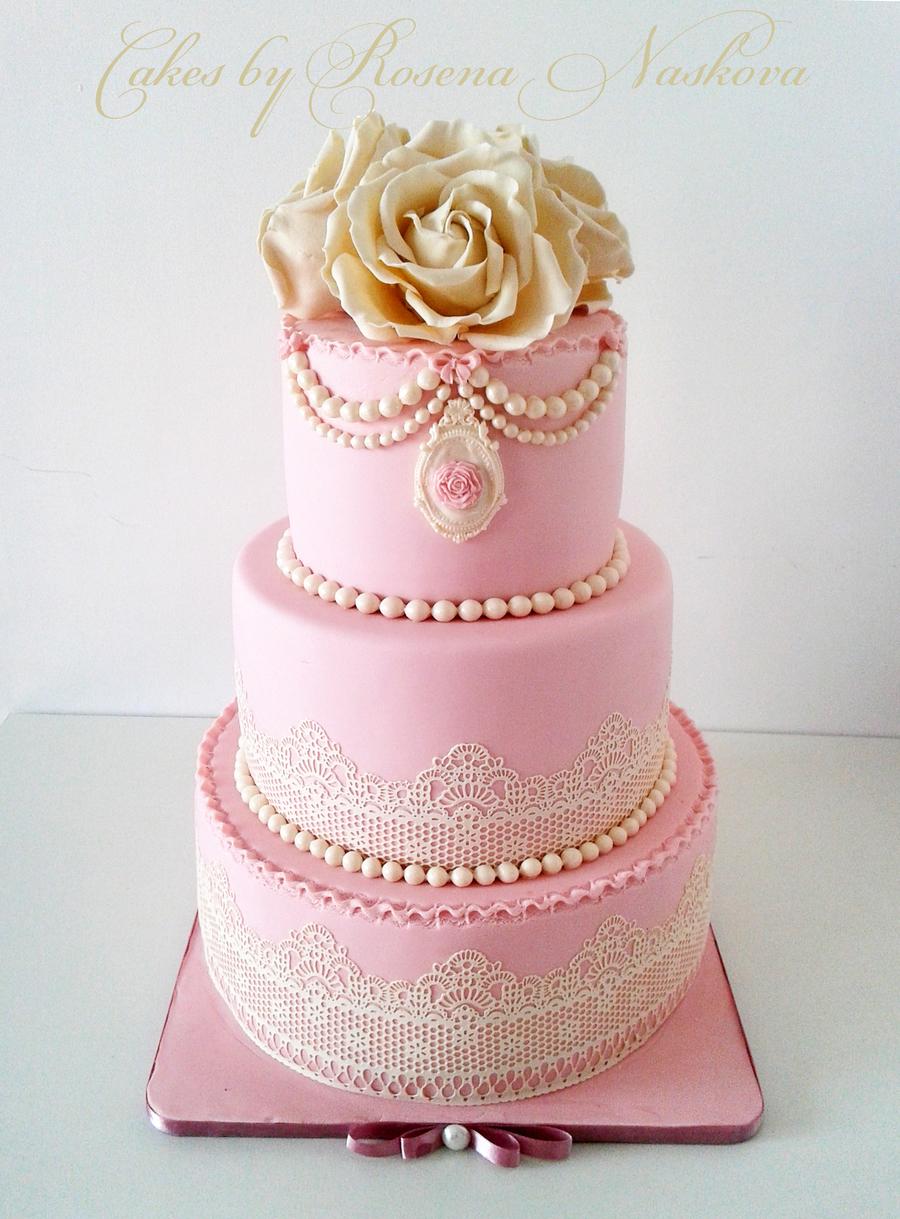 Vintage Wedding Cake - CakeCentral.com
