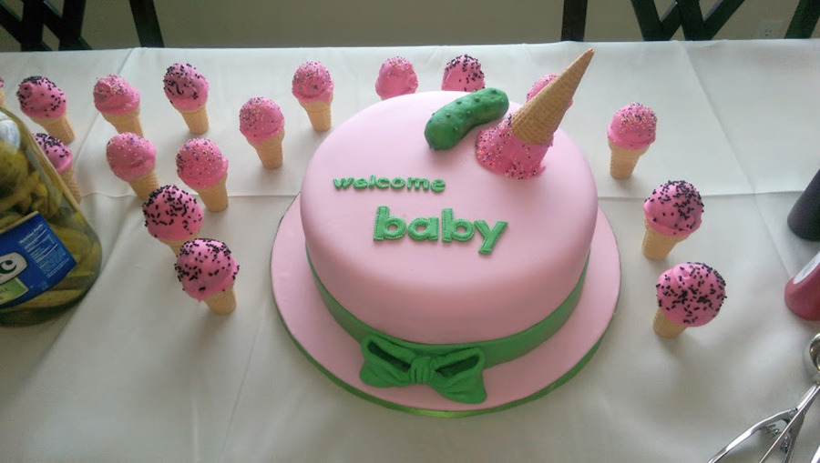 Pickles And Ice Cream Baby Shower Cake Cakecentral Com