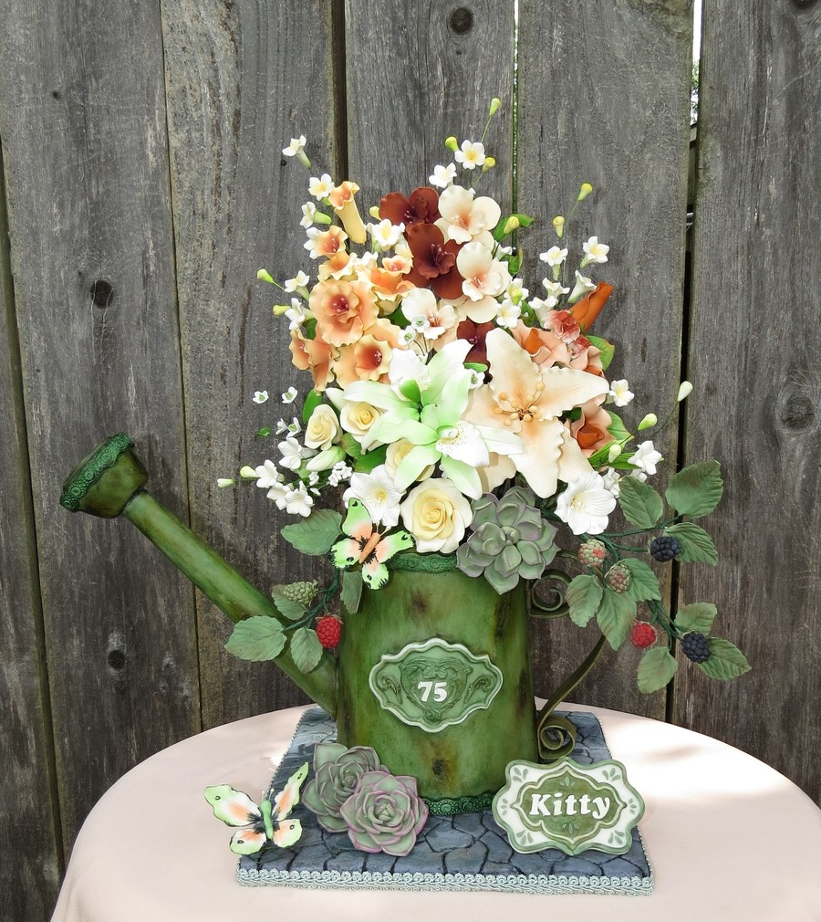 Watering Can With Blackberries, Butterflies, Succulents And Flowers on Cake Central