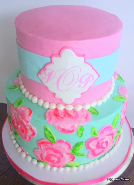 lilly pulitzer inspired bridal shower cake roses are piped buttercream that i brushed with a paintbrush